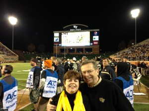Donna Henderson and her husband as Guest Coaches for WFU Football